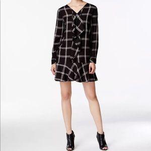 NWT Kensie Black Plaid Long Sleeve Dress Size XS